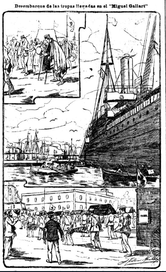 La llegada de los repatriados. La Vanguardia, viernes, 11 de noviembre de 1898, en su página 4. Ver texto.PNG
