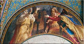 Gudrun da la bienvenida a sus hermanos. Pintura mural del Vestíbulo Superior, Wilhelm Hauschild, 1883/84
