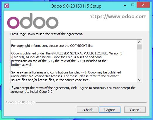 Aceptar los términos de licencia de Odoo 9