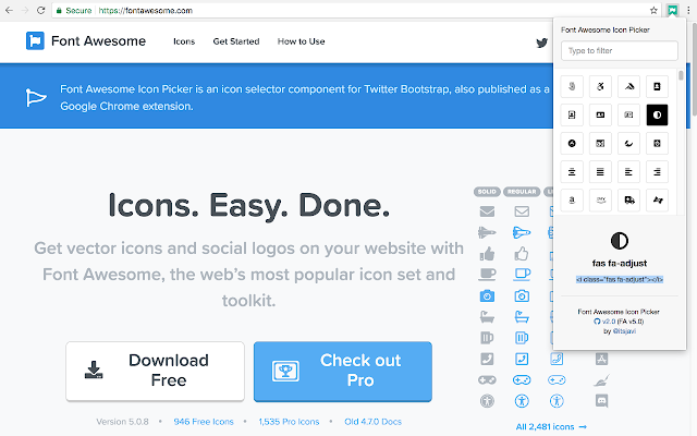 font awesome icon picker chrome web store