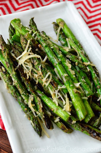 Grilled Parmesan and Pepper Asparagus via KatiesCucina.com