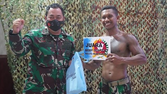 Mantap!!, Kopda Jusran Raih Juara I Lomba Army Body Contest Tingkat Korem