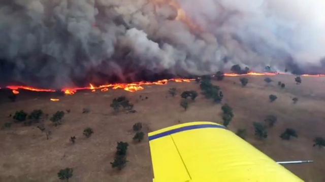 Aerial view of a bushfire in New South Wales, Australia, 12 February 2017. While bushfires ravage the Australian landscape every year, in 2017, land and sea temperatures were pushed up due to climate change, increasing the severity of fire seasons. Photo: AFP Photo