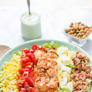 Bbq Salmon Cobb Salad With Avocado Ranch Dressing.