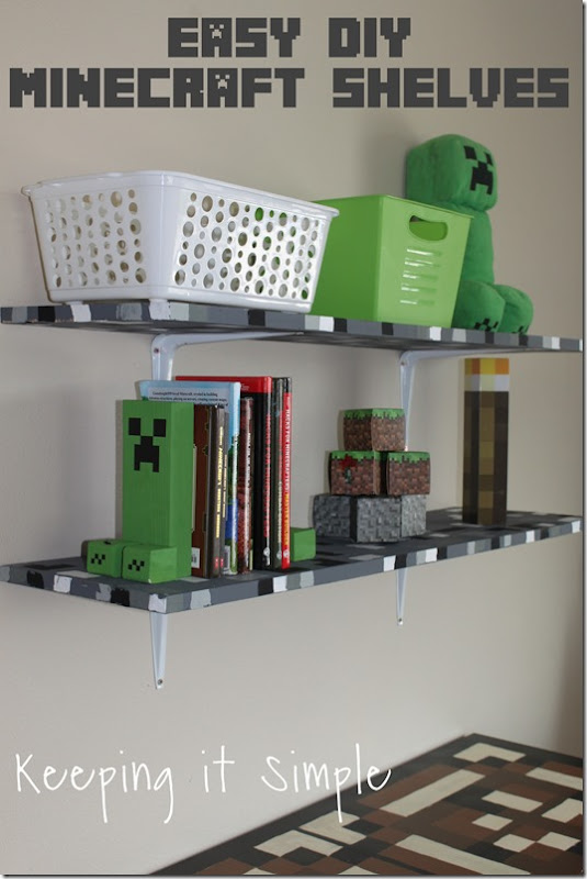 Easy-DIY-Minecraft-Shelves
