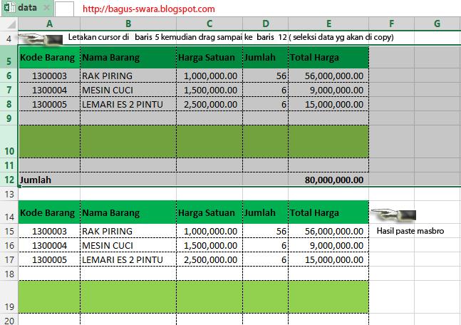 Trik Copy Tabel agar Kolom Tidak Berubah di Ms.Excel