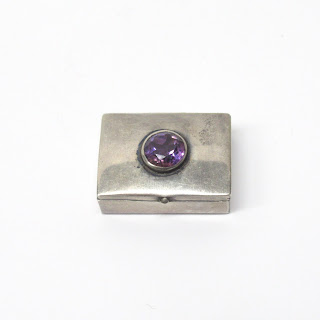 Sterling Silver and Amethyst Pill Box
