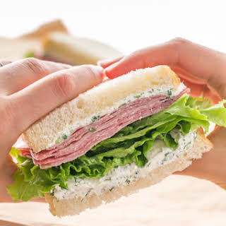 Salami Cream Cheese Sandwich.