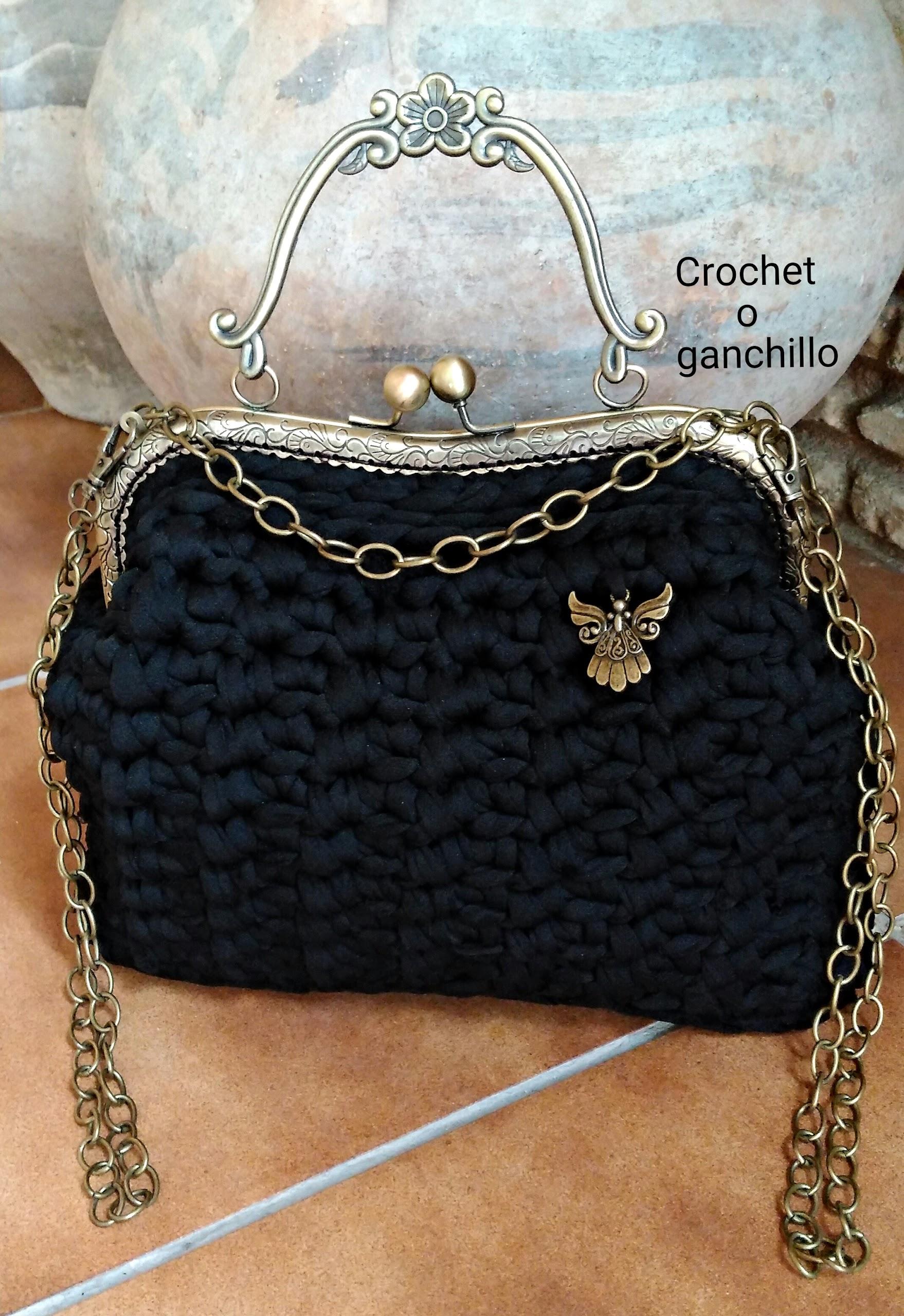 Bolsos ganchillo con boquilla for Bolso crochet trapillo