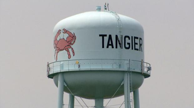 Tangier Island water tower. Photo: CBS News