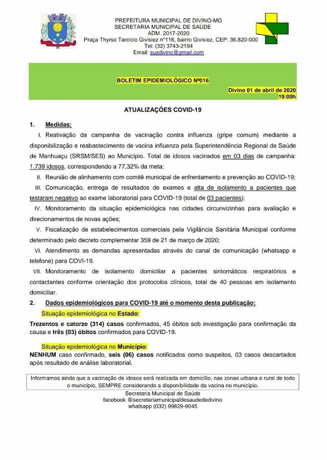 Coronavírus: Divino tem 03 casos descartados e 06 notificados como suspeitos em novo Boletim