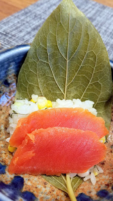 Nodoguro Sousaku Dinner: Trip to Nara, Salmon, Persimmon Leaf, and Corn