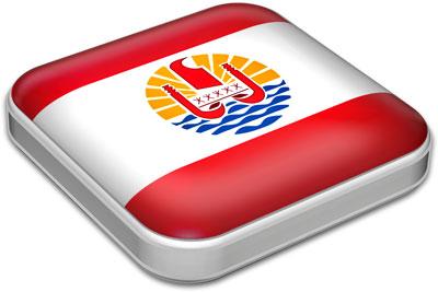 Flag of French Polynesia with metallic square frame