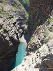 Long vertical climb in the Via ferrata of Sautet Lake