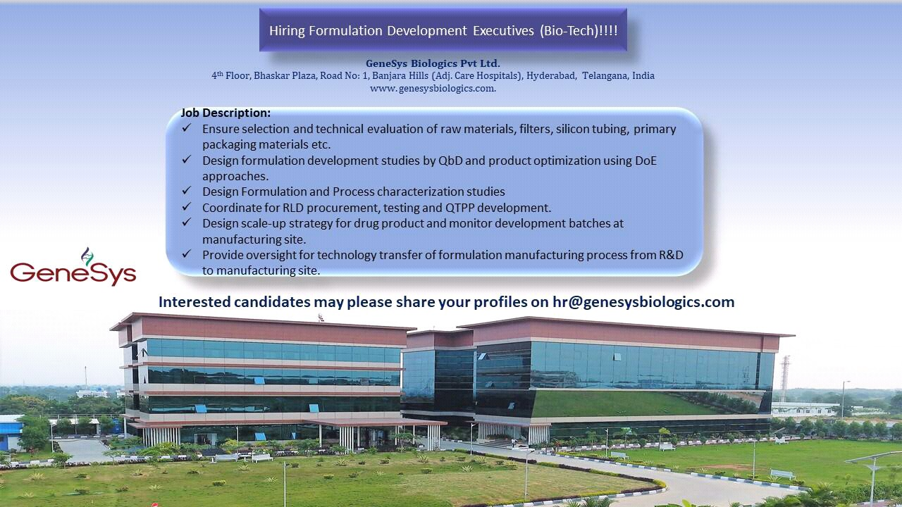 GeneSys Biologics Ltd - Urgently Opening for Formulation Development Executive | Apply CV Now