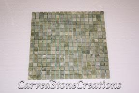 5/8x5/8, Flooring, Flooring & Mosaics, Green, Interior, Mosaic, Natural, Stone, Tile, Tumbled, Veggie