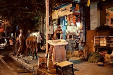 A shop and a cow
