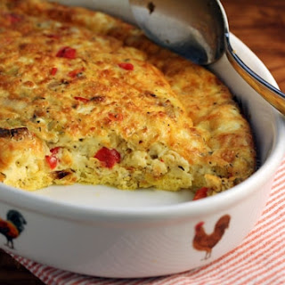 Egg Casserole with Leeks, Red Bell Pepper and Goat Cheese Recipe