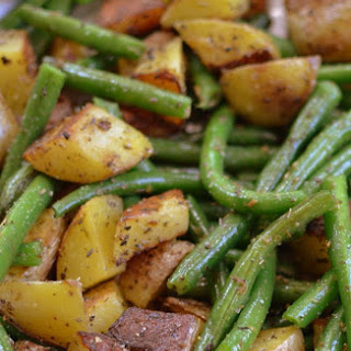 Pan Fried Potatoes and Green Beans.
