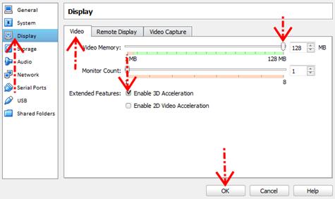 Pengaturan video virtual box