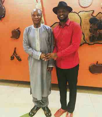 Peter Okoye pictured with Guinea President, Alpha Conde