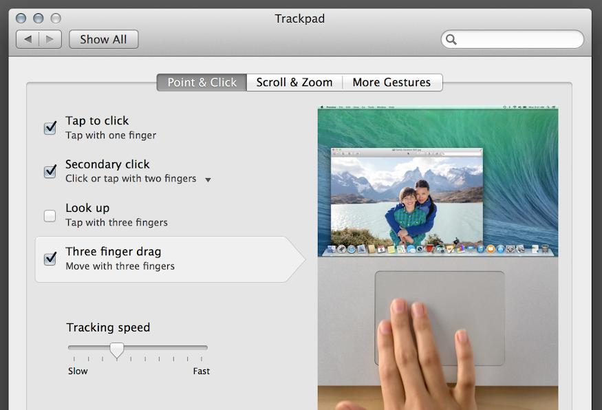 OS X 10.9 Mavericks: System Preferences: Trackpad: Point & Click