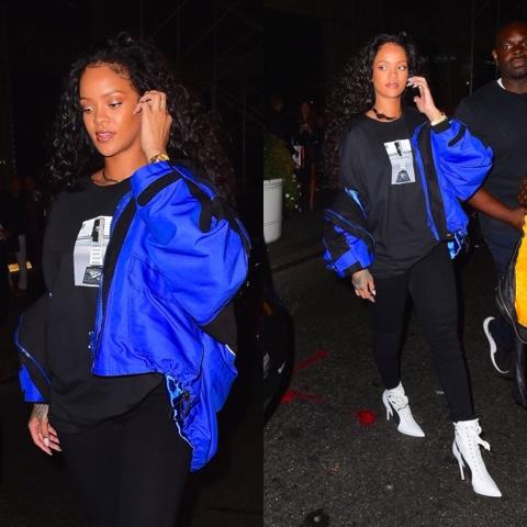 Rihanna wears Roc Nation and FENTY x PUMA IN NYC