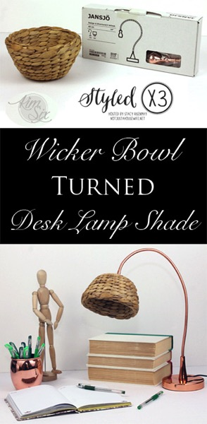 Wicker bowl turned lamp shade