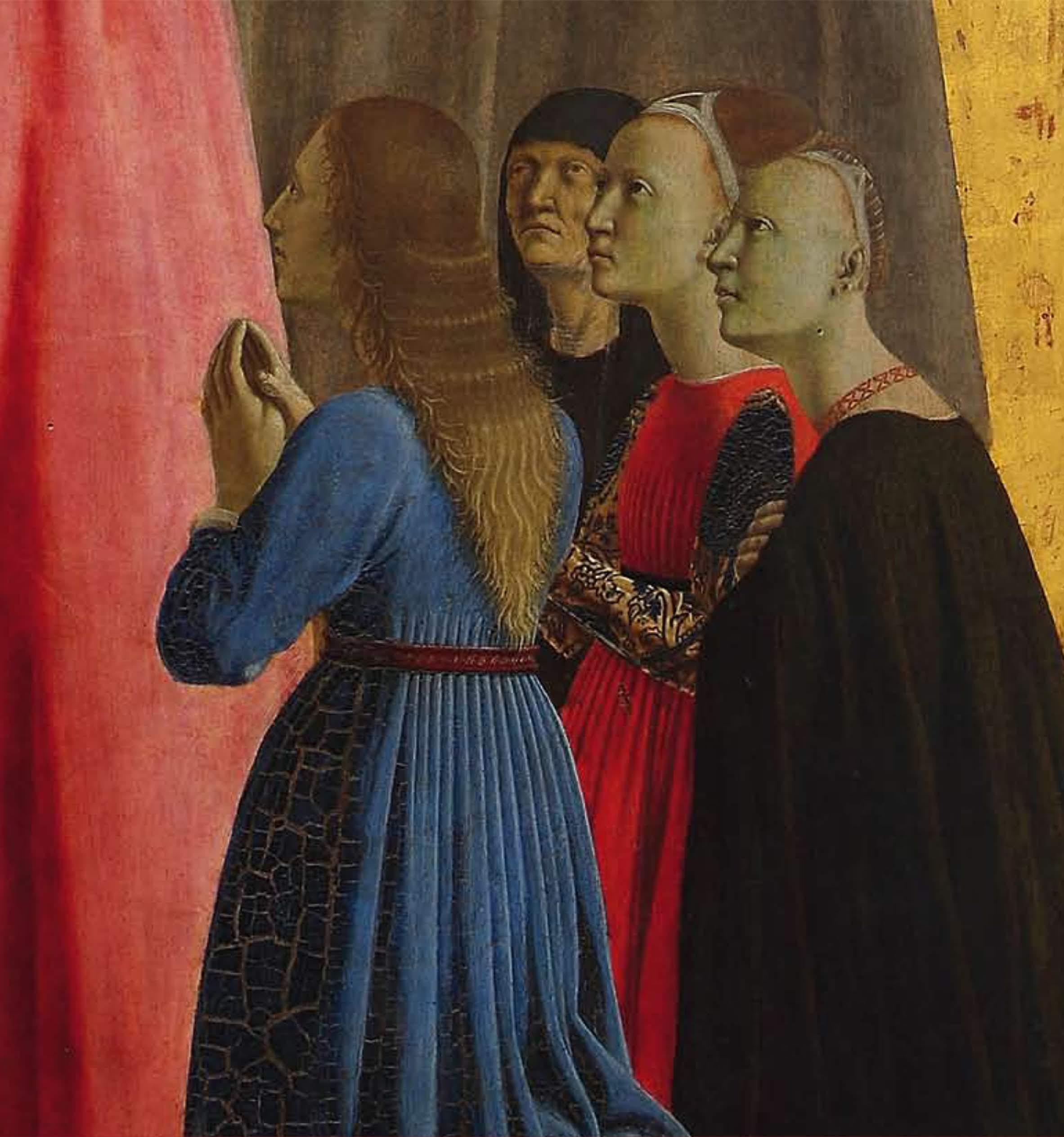 Piero della Francesca,LaMadonna della Misericordia1444-1465, (i fedeli sono disposti a semicerchi, quattro per parte (uomini a sinistra e donne a destra (cui le donne), Museo Civico, Sansepolcro
