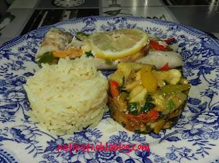 Filet de merlan en papillote et légumes du sud