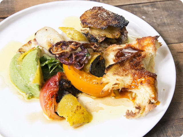 Argentinean-Style Grilled Swordfish with a Spicy-Orange Chimichurri, Pan-Roasted Peppers and Charred Sweet Potato Chips