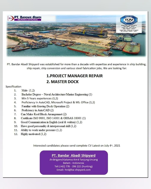 Lowongan Project Manager dan Master Dock di PT. Bandar Abadi Shipyard