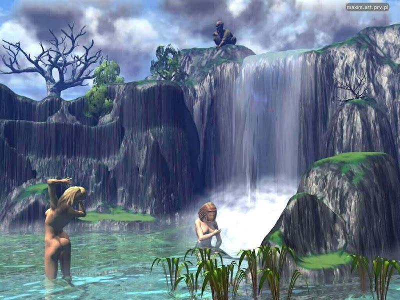 Beauties And Waterfall, Magical Landscapes 1