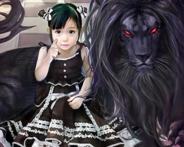 Little Girl And Black Lion, Spirit Companion 4