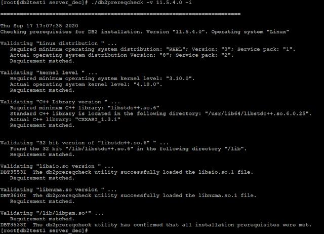 db2prereqcheck -v 11.5.4.0 -i