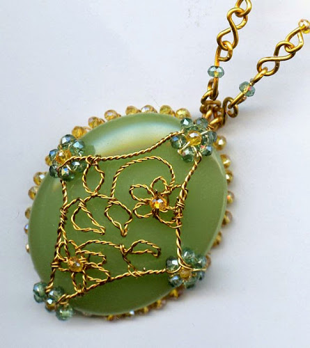 Floral Filigree Cabochon Pendant by Melody MacDuffee