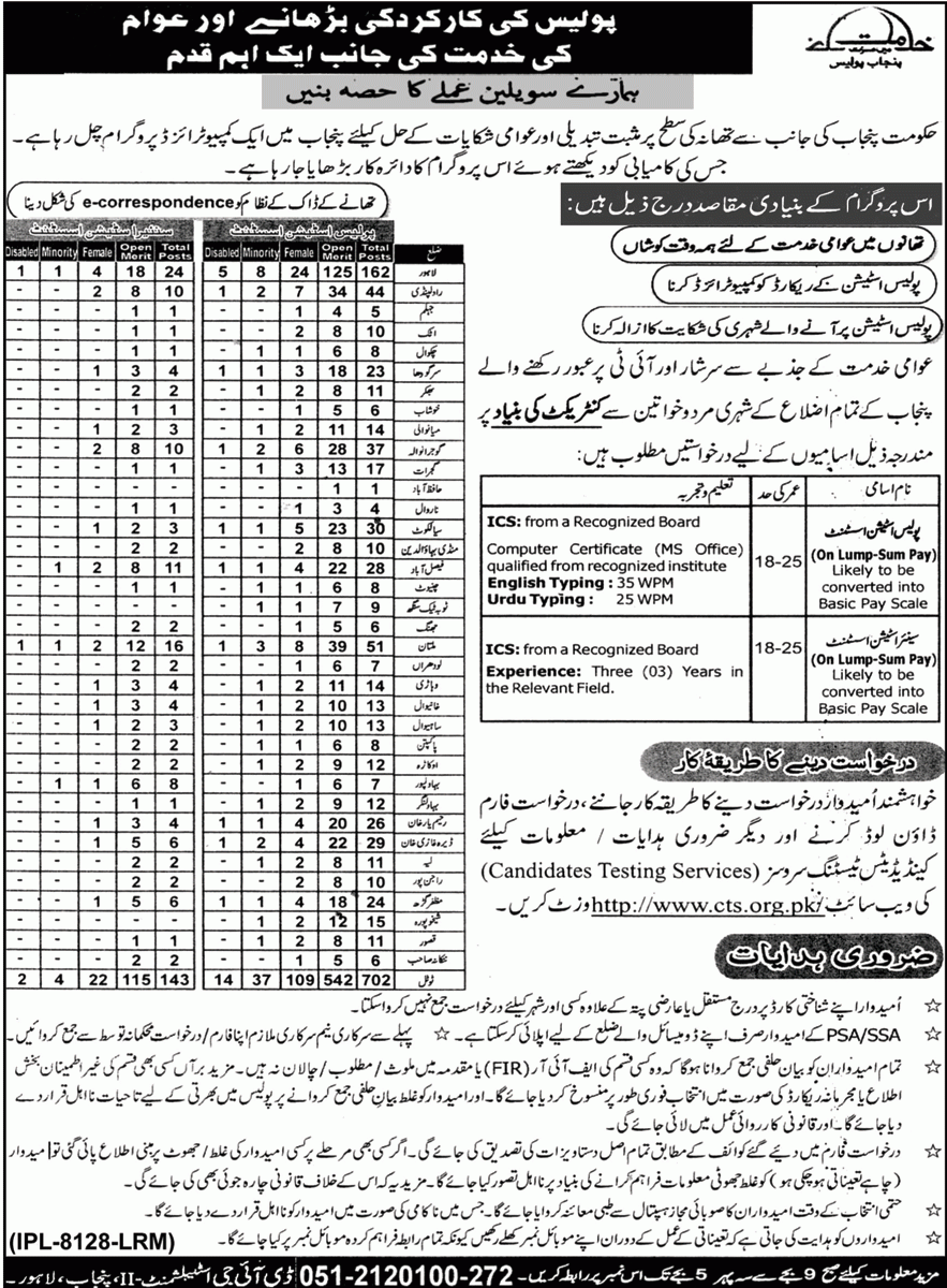 Punjab Police Station Assistant Jobs 2020 CTS