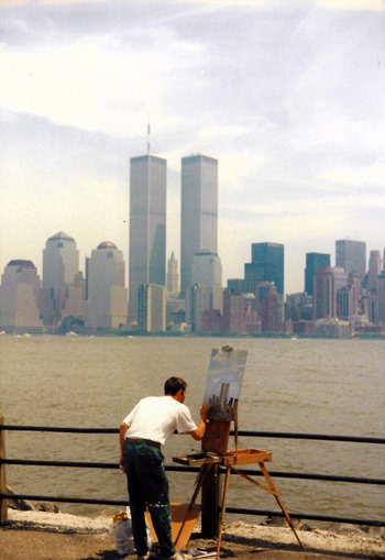 man painting the twin towers from brooklyn