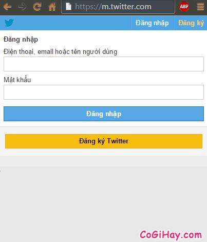 Đăng nhập twitter qua trang web dành cho di động