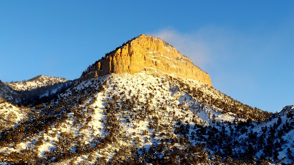 Snow blowing off the mountaintop above Soldier Creek
