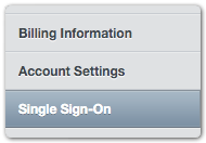 Single sign-on section of settings console