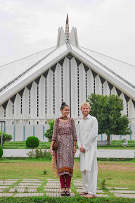 The Beautiful couple in front of Faisal Masjid