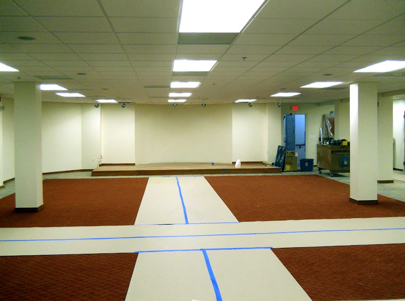 Basement carpet, with protective paper