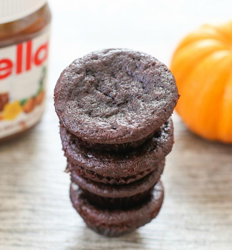 overhead photo of Flourless Nutella Pumpkin Muffins