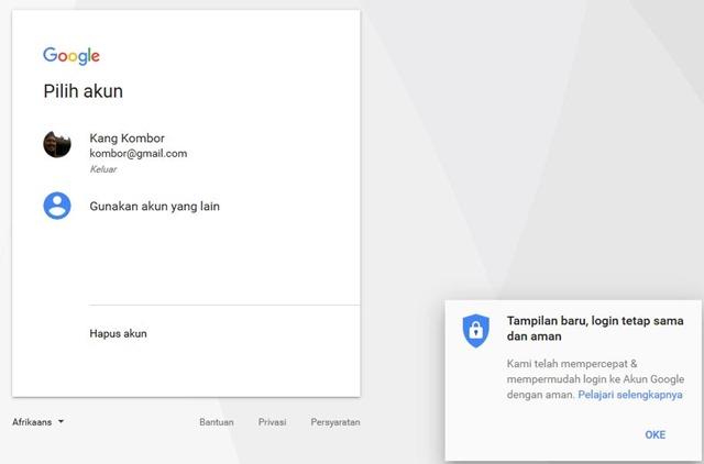 tampilan halaman login baru google