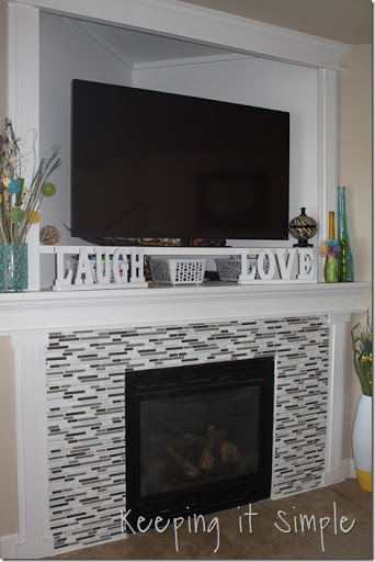 Fireplace Makeover with Mosaic Tiles - Keeping it Simple Crafts
