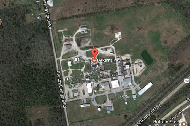 Satellite view of the Arkema SA chemical plant in Crosby, Texas. Photo: Google Maps