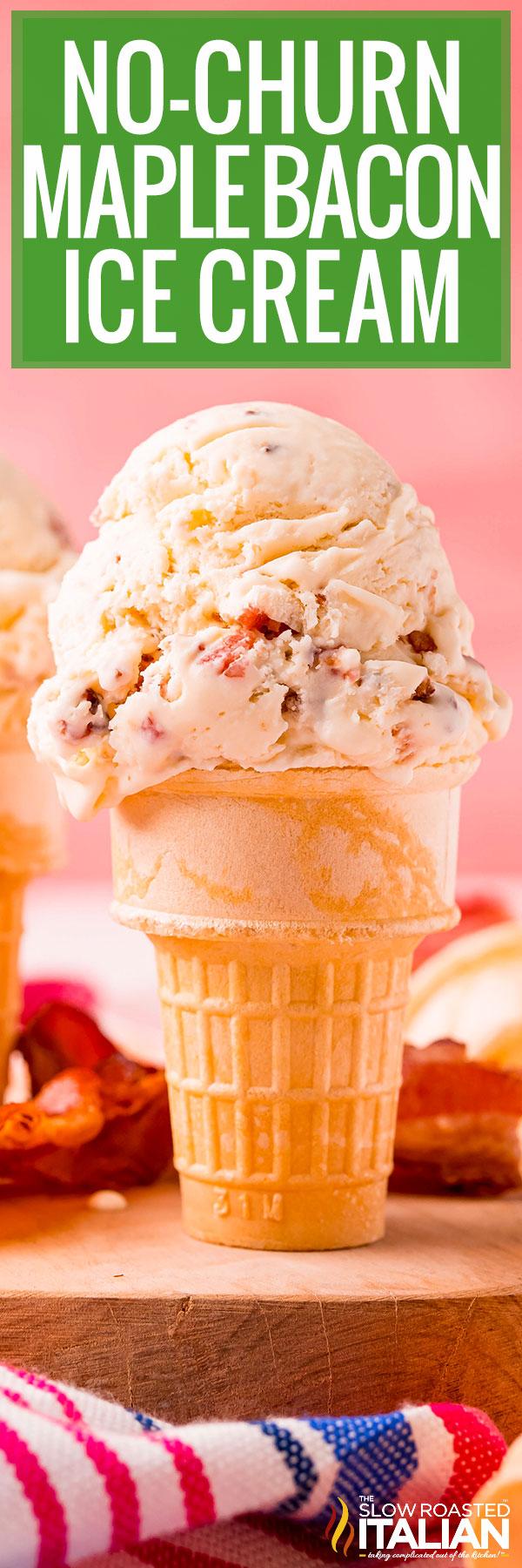 No-Churn Maple Bacon Ice Cream close up