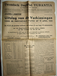 Twentsch Dagblad Tubantia - 20 april 1939 - Uitslag Provinciale staten verkiezingen. De NSB grootste verliezer. http://www.secondworldwar.nl/enschede/