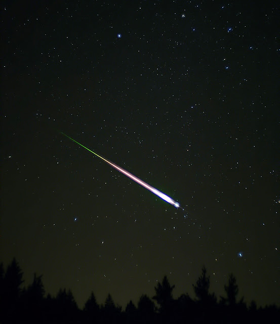 A meteor during the peak of the 2009 Leonid Meteor Shower. The photograph shows the meteor, afterglow, and wake as distinct components.